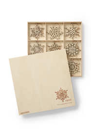 Wooden Snowflake Christmas Ornaments (Set of 27)
