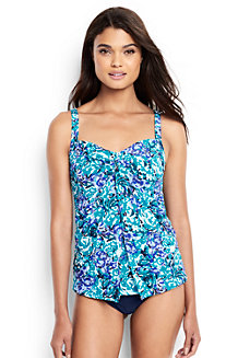 Women's Shape & Enhance Sweetheart Split Front Wave Print Tankini Top