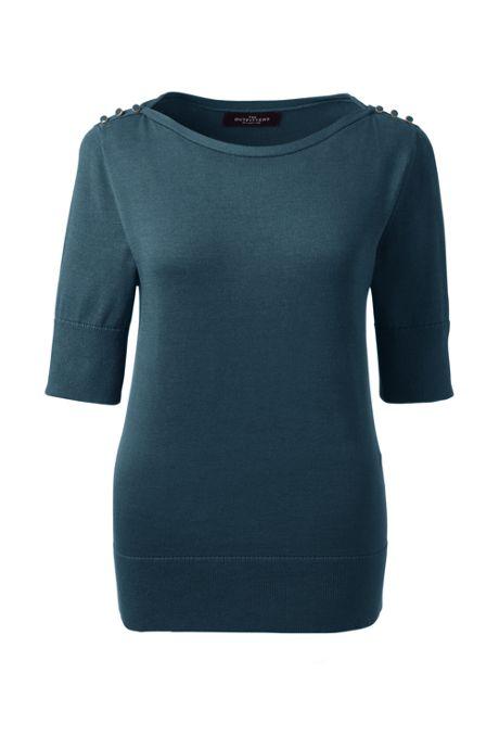 Women Cotton Modal Button Shoulder Boatneck Sweater