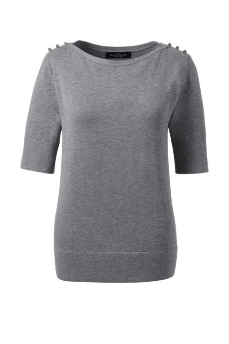 Women Plus Cotton Modal Button Shoulder Boatneck Sweater