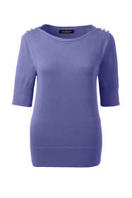 Women Cotton Modal Button Shoulder Boatneck Sweater