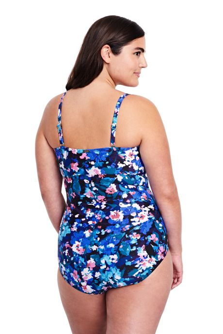 Women's Plus Size Slender Underwire Bandeau One Piece Swimsuit