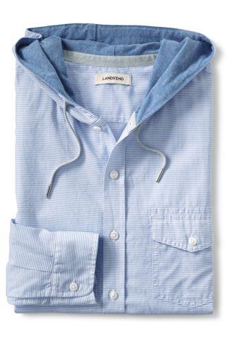 Men's Regular Cotton/Linen Hooded Shirt