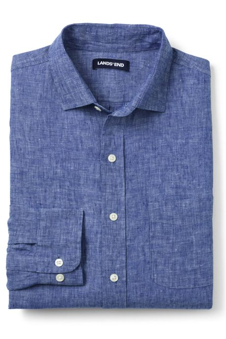 Men's Tailored Fit Long Sleeve Linen Shirt