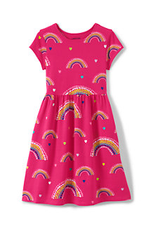 Girls' Short Sleeve Gathered Waist Dress