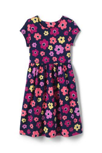 Gemustertes Jerseykleid mit angesetztem Rock für große Mädchen