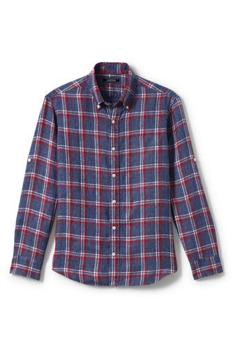 メンズ・リネン・シャツ/スリムフィット/ロールアップ袖