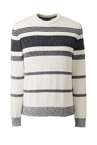 Cotton Drifter Marl Stripe Crew Sweater 482476: Gray Marl