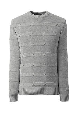 Lands' End Cotton Drifter Texture Chain Stripe Sweater