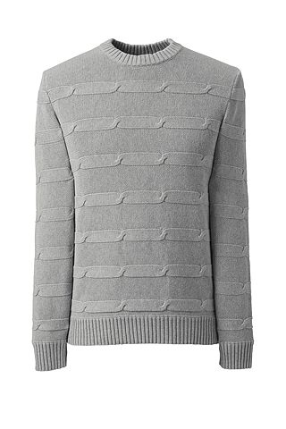 Cotton Drifter Texture Chain Stripe Sweater 482477: Gray Heather