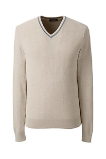 Men's Herringbone Texture Fine Gauge V-neck Jumper