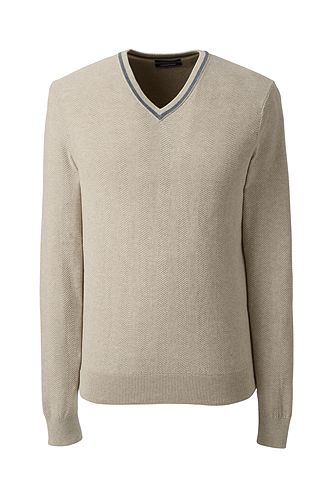Supima Herringbone Texture V-neck Sweater 482484: Oatmeal Heather 482484