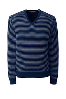 Men's Striped Fine Gauge V-neck Jumper