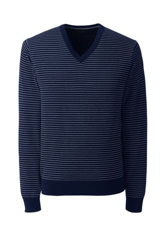 Men's Striped Fine Gauge Cotton Jumper