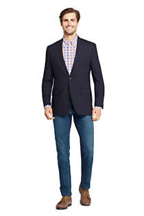 Men's Tailored Fit Comero Italian Wool Navy Blazer, alternative image