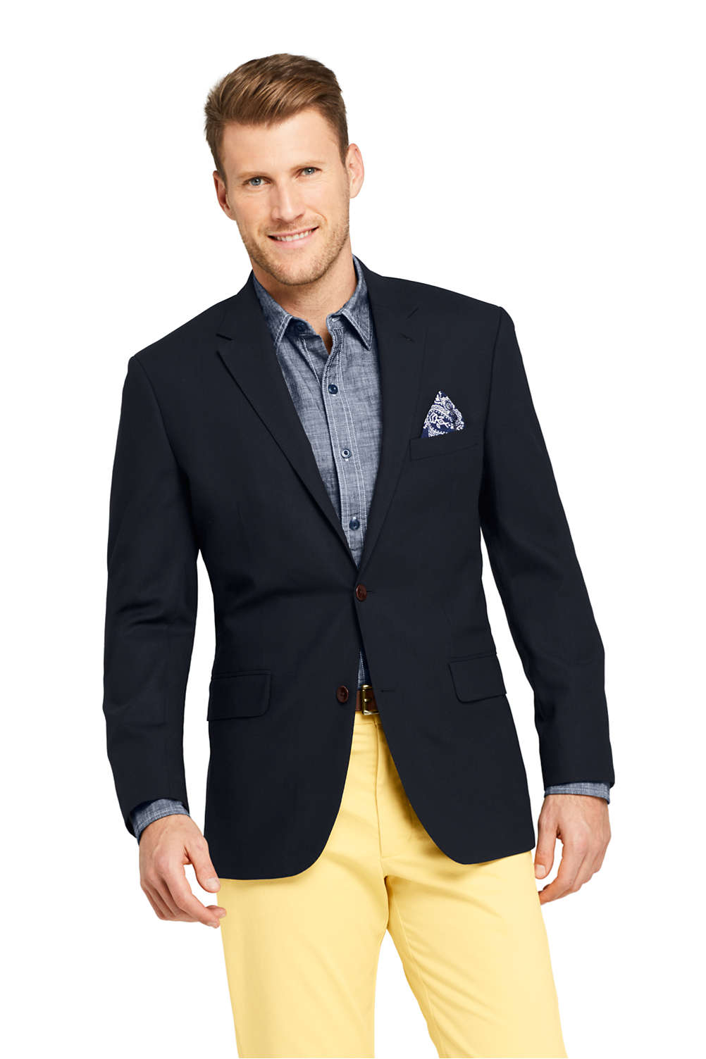 Men s Tailored Fit Comero Italian Wool Navy Blazer from Lands  End 3bf53421c1