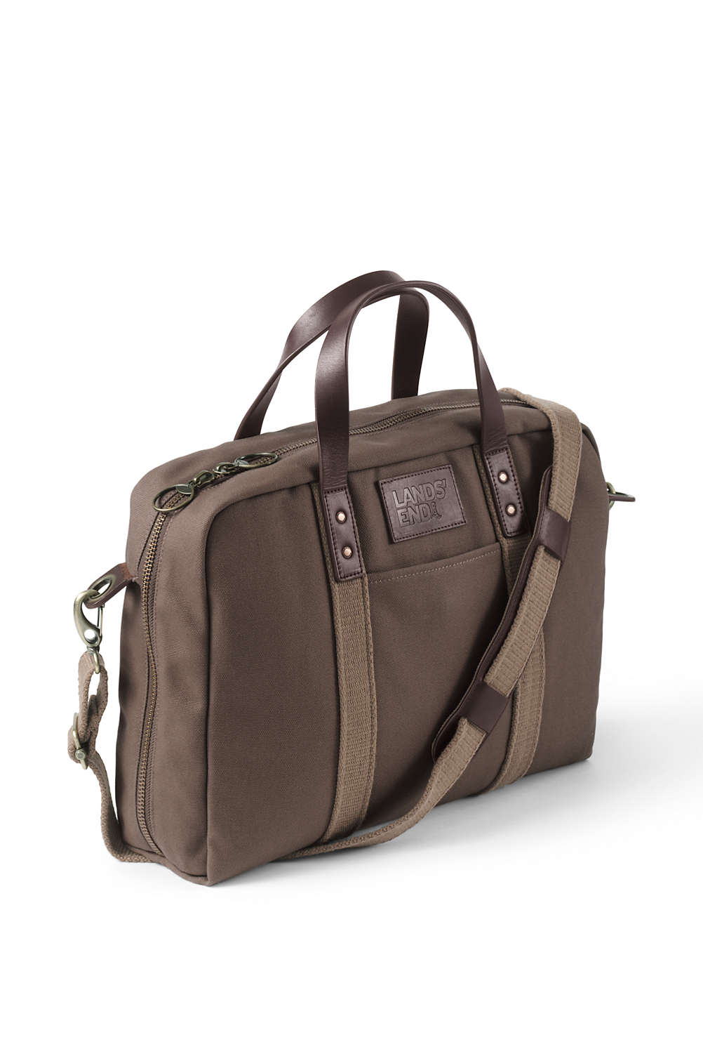 5de2082dde5e Waxed Canvas Briefcase from Lands  End