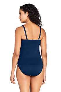 Women's Square Neck Underwire Tankini Top Swimsuit Adjustable Straps, Back