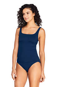 Women's Long Square Neck Underwire Tankini Top Swimsuit