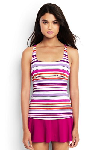 Women's Regular Beach Living Squareneck Maui Stripe Tankini Top