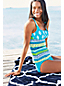 Women's DD-Cup Beach Living Squareneck Scuba Print Tankini Top