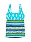 Women's D-Cup Beach Living Squareneck Scuba Print Tankini Top