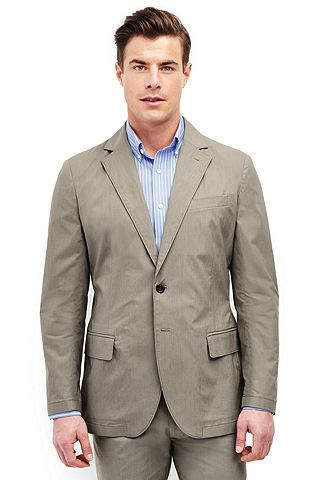 Stretch Poplin Sport Coat 481507: Khaki