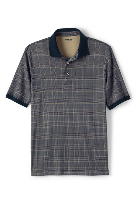 Lands End Mens Short Sleeve Jacquard Super Soft Supima Polo Shirt