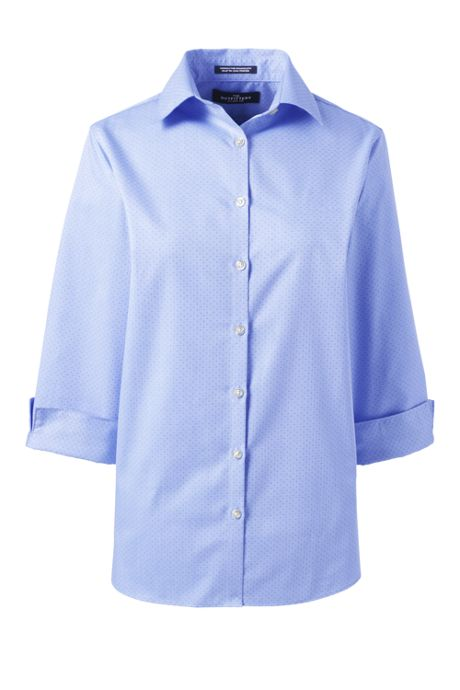Women's 3/4 Sleeve Pattern Broadcloth Dress Shirt