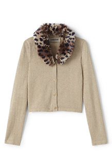 Girls' Faux Fur Collar Sparkle Cardigan