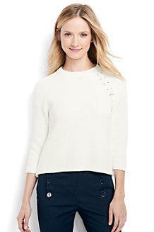 Women's Regular Drifter Lace Shoulder Crew Neck Jumper