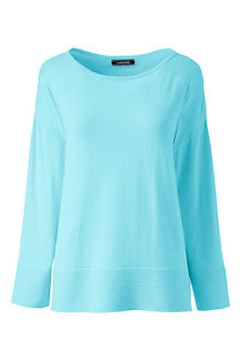 Women's  Three-quarter Sleeve Ottoman Boatneck Jumper