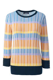 Women's Tall Supima Cotton 3/4 Sleeve Stripe Sweater