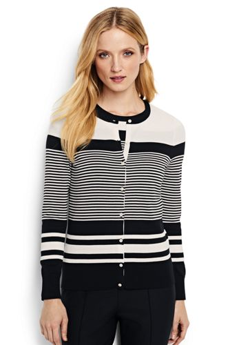 Le Cardigan Supima à Rayures Multiples, Femme Stature Standard