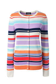 Women's Petite Supima Cotton Stripe Cardigan Sweater