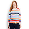 Lands End Women's Supima Cotton Stripe Cardigan Sweater
