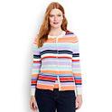 Lands End Women's Supima Cotton Stripe Cardigan Sweater
