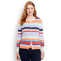 Lands End Women's Plus Size Supima Cotton Stripe Cardigan Sweater