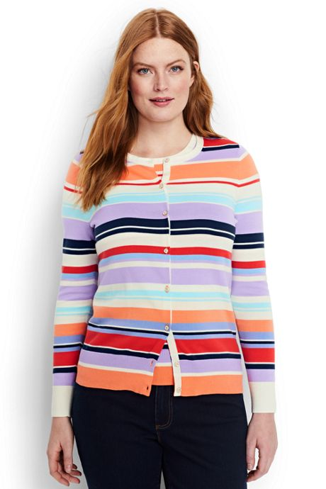 Women's Plus Size Supima Cotton Stripe Cardigan Sweater