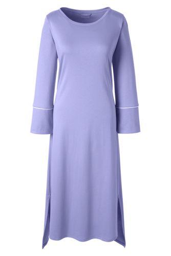 Wadenlanges Supima Nachthemd mit langen Ärmeln für Damen in Normalgröße