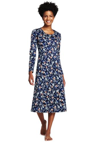 Women S Supima Cotton Midcalf Print Nightgown From Lands End
