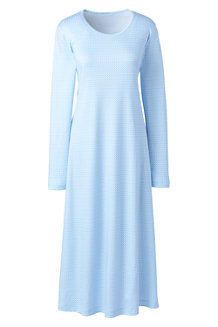 Women's Supima Patterned Long Sleeve Calf-length Nightdress