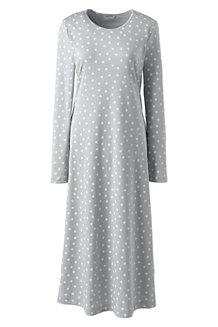Wadenlanges Supima Langarm-Nachthemd, gemustert, für Damen