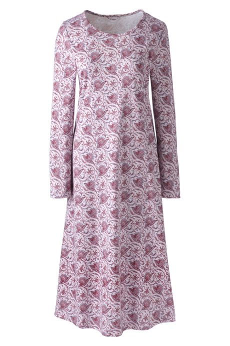 Women's Petite Midcalf Supima Cotton Nightgown Print Long Sleeve