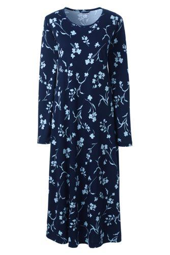 La Chemise de Nuit Longue Imprimée à Manches Longues, Femme Stature Standard