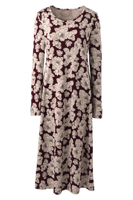 Women's Supima Cotton Long Sleeve Midcalf Nightgown - Print