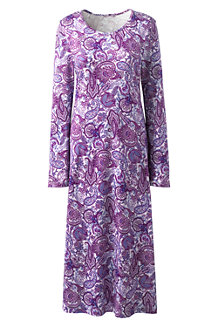 Women's Supima Patterned Long Sleeve Calf-length Nightdress