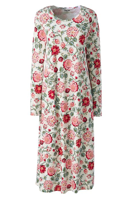 Women's Tall Supima Cotton Long Sleeve Midcalf Nightgown - Print