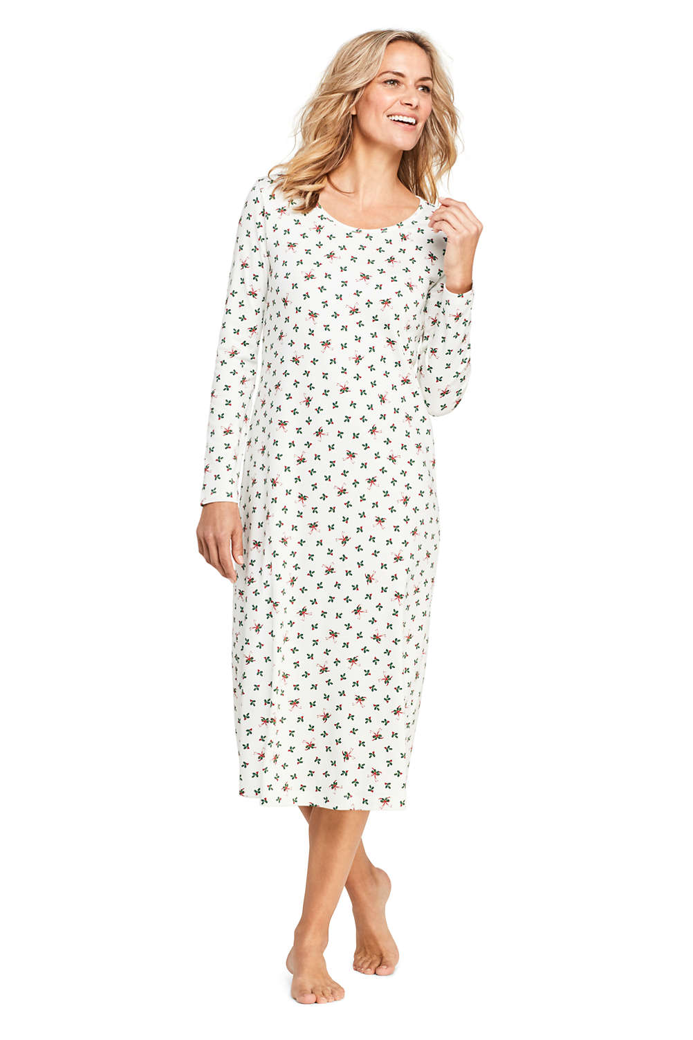 88d4c9b2487 Women's Supima Cotton Long Sleeve Midcalf Nightgown - Print from Lands' End