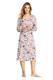 Women's Petite Supima Cotton Long Sleeve Midcalf Nightgown - Print